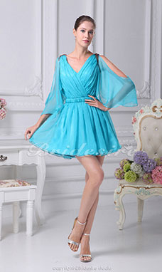 A-line V-neck Short/Mini 3/4 Length Sleeve Chiffon Dress
