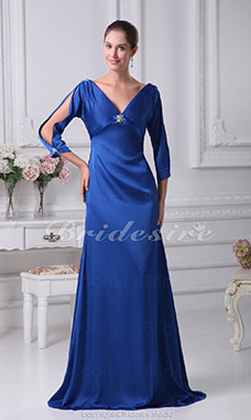 A-line V-neck Sweep/Brush Train 3/4 Length Sleeve Stretch Satin Mother of the Bride Dress