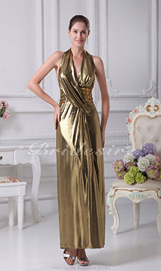 Sheath/Column Halter V-neck Floor-length Sleeveless Stretch Satin Dress