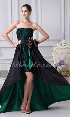 A-line Sweetheart Asymmetrical Short/Mini Sleeveless Taffeta Lace Dress