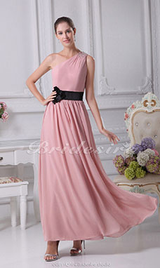 Sheath/Column One Shoulder Floor-length Sleeveless Chiffon Stretch Satin Bridesmaid Dress