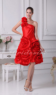 A-line One Shoulder Knee-length Sleeveless Taffeta Dress