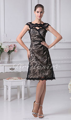A-line Sweetheart Off-the-shoulder Knee-length Sleeveless Satin Lace Dress