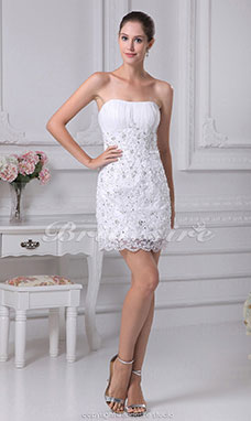 Sheath/Column Strapless Short/Mini Sleeveless Organza Dress