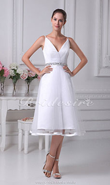 A-line V-neck Spaghetti Straps Knee-length Sleeveless Satin Tulle Dress