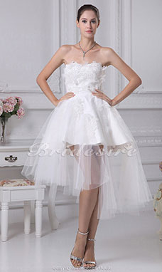 Princess Sweetheart Short/Mini Sleeveless Tulle Satin Wedding Dress