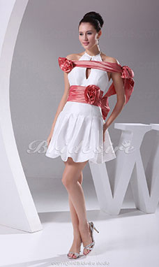 A-line Halter Short/Mini Sleeveless Taffeta Dress