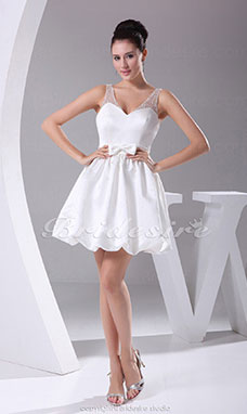 Princess V-neck Short/Mini Sleeveless Satin Tulle Dress