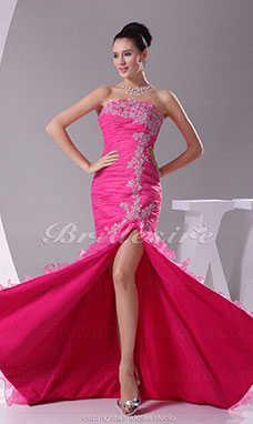 Trumpet/Mermaid Strapless Court Train Sleeveless Organza Dress