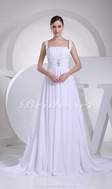 A-line Straps Court Train Sleeveless Chiffon Wedding Dress