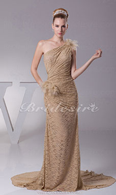 Sheath/Column One Shoulder Sweep/Brush Train Sleeveless Lace Dress