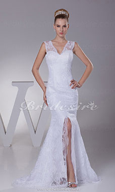 Trumpet/Mermaid V-neck Sweep/Brush Train Sleeveless Satin Lace Wedding Dress