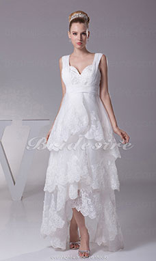 A-line Sweetheart Asymmetrical Tea-length Sleeveless Satin Organza Wedding Dress