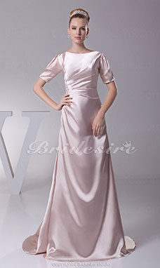 A-line Scoop Sweep/Brush Train Short Sleeve Stretch Satin Dress