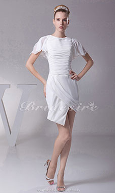 Sheath/Column Scoop Short/Mini Short Sleeve Chiffon Dress