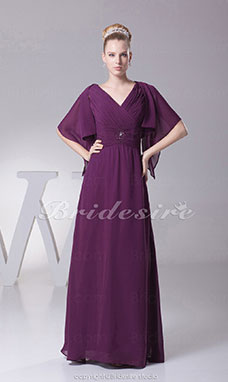 Sheath/Column V-neck Floor-length Short Sleeve Chiffon Mother of the Bride Dress