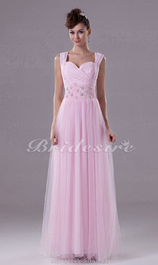 Sheath/Column Sweetheart Floor-length Sleeveless Chiffon Tulle Dress
