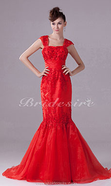 Trumpet/Mermaid Straps Sweep/Brush Train Sleeveless Organza Dress