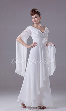 Sheath/Column V-neck Floor-length Long Sleeve Chiffon Wedding Dress