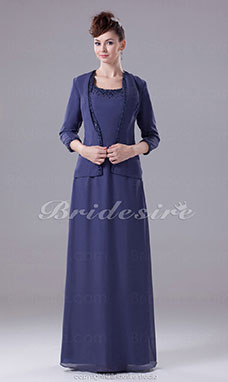 Sheath/Column Scoop Floor-length 3/4 Length Sleeve Chiffon Dress