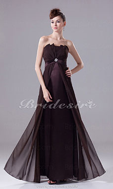 Sheath/Column Strapless Floor-length Sleeveless Chiffon Stretch Satin Dress