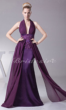 Sheath/Column Halter Sweep/Brush Train Sleeveless Chiffon Stretch Satin Dress