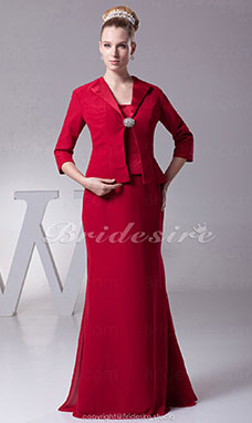 Sheath/Column Spaghetti Straps Floor-length 3/4 Length Sleeve Chiffon Stretch Satin Dress