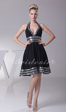 A-line Halter Knee-length Sleeveless Chiffon Dress