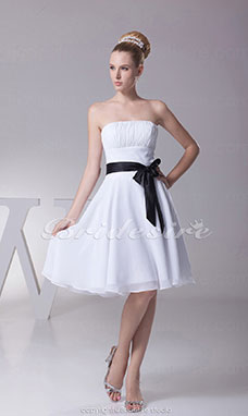 A-line Strapless Knee-length Sleeveless Chiffon Dress