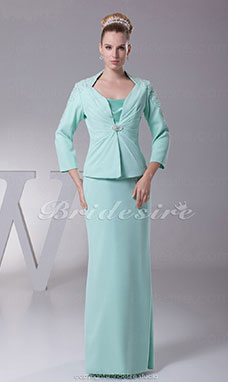 Sheath/Column Spaghetti Straps Floor-length 3/4 Length Sleeve Chiffon Dress