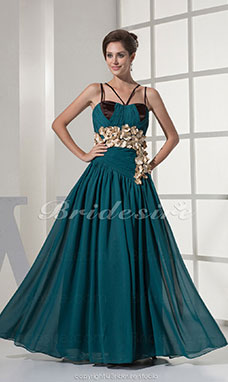 Sheath/Column Spaghetti Straps Floor-length Sleeveless Chiffon Satin Dress