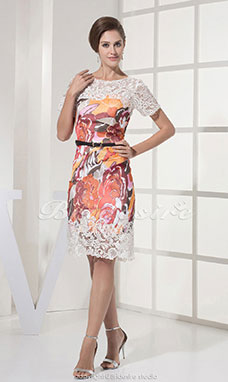 Sheath/Column Scoop Knee-length Short Sleeve Lace Stretch Satin Dress