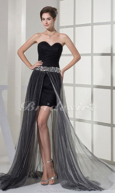 Sheath/Column Sweetheart Asymmetrical Sweep/Brush Train Sleeveless Taffeta Tulle Dress