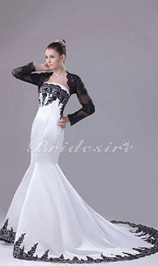 Trumpet/Mermaid Strapless Chapel Train Long Sleeve Satin Organza Wedding Dress