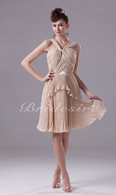 A-line Straps Knee-length Sleeveless Chiffon Dress