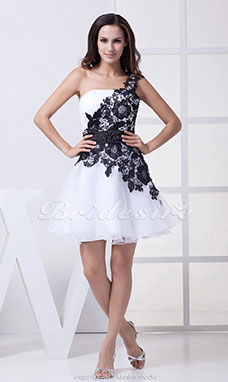 A-line One Shoulder Short/Mini Sleeveless Satin Lace Organza Dress