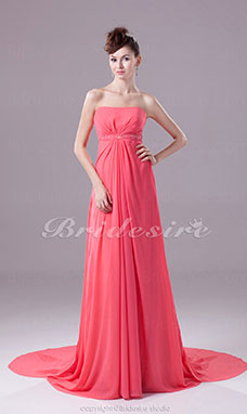 A-line Strapless Court Train Sleeveless Chiffon Dress