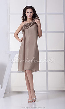 Sheath/Column One Shoulder Knee-length Sleeveless Chiffon Dress