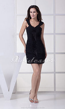 Sheath/Column Straps Short/Mini Sleeveless Chiffon Sequined Dress