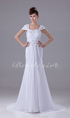 A-line Off-the-shoulder Sweep/Brush Train Short Sleeve Chiffon Wedding Dress