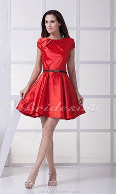 A-line Scoop Short/Mini Short Sleeve Stretch Satin Dress
