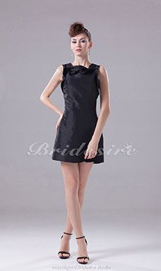 Sheath/Column Scoop Short/Mini Sleeveless Taffeta Dress