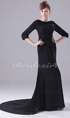 Trumpet/Mermaid Scoop Court Train 3/4 Length Sleeve Chiffon Dress