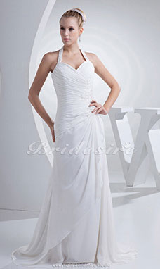 Sheath/Column Sweetheart Halter Sweep/Brush Train Sleeveless Chiffon Wedding Dress