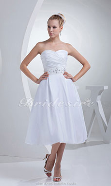 Princess Sweetheart Tea-length Sleeveless Satin Bridesmaid Dress