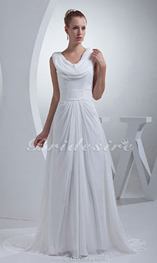 A-line Scoop Court Train Sleeveless Chiffon Wedding Dress