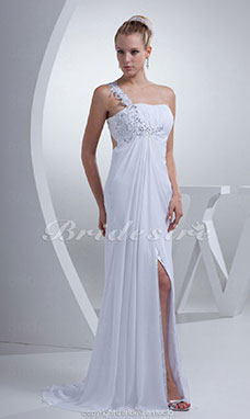 Sheath/Column One Shoulder Sweep/Brush Train Sleeveless Chiffon Wedding Dress