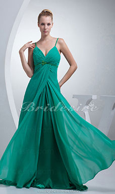 A-line Spaghetti Straps Sweep/Brush Train Sleeveless Chiffon Bridesmaid Dress