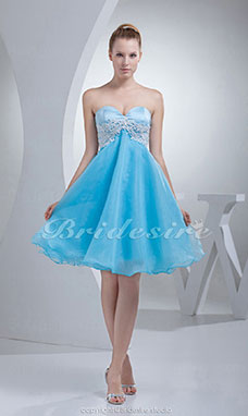 A-line Sweetheart Knee-length Sleeveless Stretch Satin Organza Dress