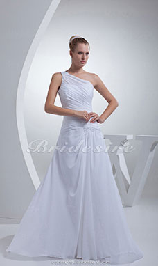Sheath/Column One Shoulder Court Train Sleeveless Chiffon Wedding Dress